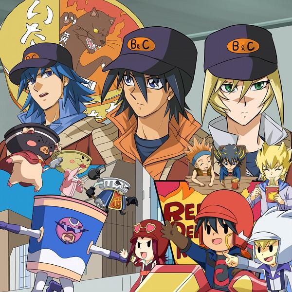 Tags: Anime, Ashi Ura, Yu-Gi-Oh! 5D's, Yu-Gi-Oh!, Jack Atlas, Yusei Fudo, Sherry LeBlanc, Izayoi Aki, Bruno, Crow Hogan, Skyscraper, Cup Noodle, Duel Runner