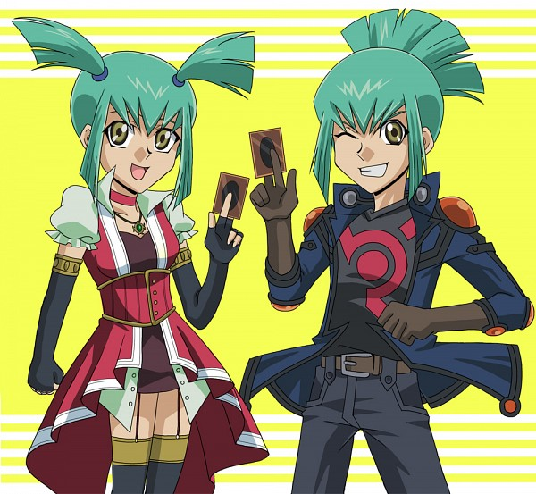 Tags: Anime, Masami (Artist), Yu-Gi-Oh! 5D's, Yu-Gi-Oh!, Lua (Yu-Gi-Oh! 5D's), Luca (Yu-Gi-Oh! 5D's), Izayoi Aki (Cosplay), Yusei Fudo (Cosplay), Pixiv, Fanart From Pixiv, Fanart