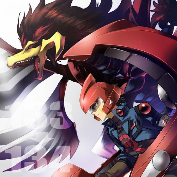 Tags: Anime, Karashi12, Yu-Gi-Oh! 5D's, Yu-Gi-Oh!, Black-Winged Dragon, Yusei Fudo, Duel Runner, Motorcycle Helmet, Pixiv, Fanart From Pixiv, Fanart