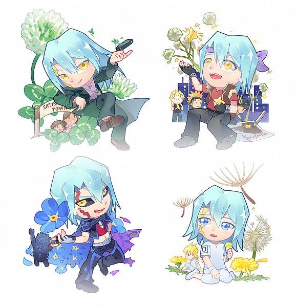 Tags: Anime, Pixiv Id 3788078, Yu-Gi-Oh! 5D's, Yu-Gi-Oh!, Yusei Fudo, Kiryu Kyousuke, Earthbound Immortal Ccapac Apu, Crow Hogan, Nico (Yu-Gi-Oh! 5D's), Jack Atlas, Wesuto, Dark Signer Uniform, Harmonica