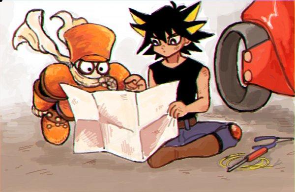 Tags: Anime, Pixiv Id 16852219, Yu-Gi-Oh! 5D's, Yu-Gi-Oh!, Yusei Fudo, Junk Synchron, Orange Footwear, Floating Scarf, Orange Hat, Duel Runner, Orange Armwear, Orange Headwear, Holding Paper