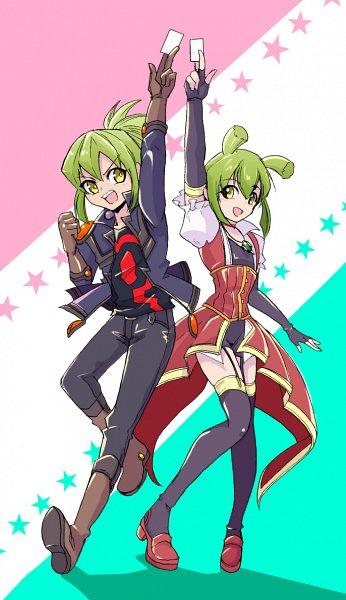 Tags: Anime, Pixiv Id 2294688, Yu-Gi-Oh! 5D's, Yu-Gi-Oh!, Luca (Yu-Gi-Oh! 5D's), Lua (Yu-Gi-Oh! 5D's), >:D, Izayoi Aki (Cosplay), Yusei Fudo (Cosplay), Fanart From Pixiv, Fanart, Pixiv