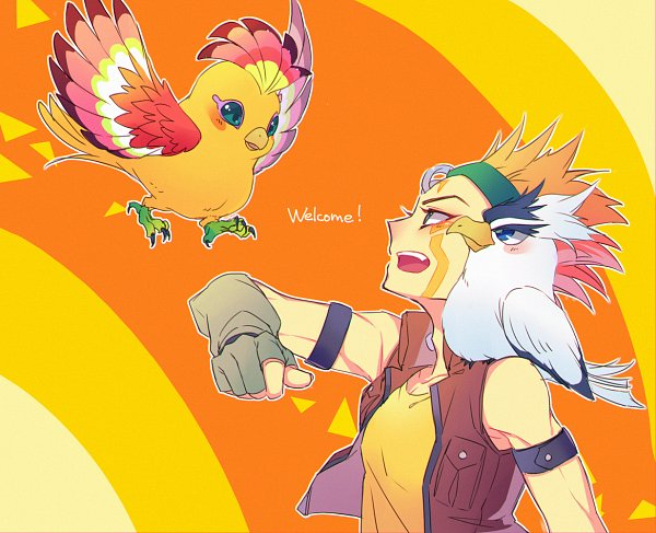 Tags: Anime, Ryou*, Yu-Gi-Oh!, Yu-Gi-Oh! 5D's, Blackwing - Blizzard the Far North, Crow Hogan, Blackwing – Auster the South Winds, Gray Gloves, Bird on Shoulder, Gray Handwear, Fanart, Twitter, Blackwing