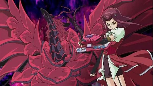 Tags: Anime, Yu-Gi-Oh!, Yu-Gi-Oh! 5D's, Black Rose Dragon, Izayoi Aki, Screenshot