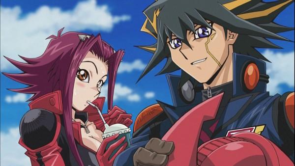 Tags: Anime, Yu-Gi-Oh!, Yu-Gi-Oh! 5D's, Izayoi Aki, Yusei Fudo, Screenshot, YuuAki
