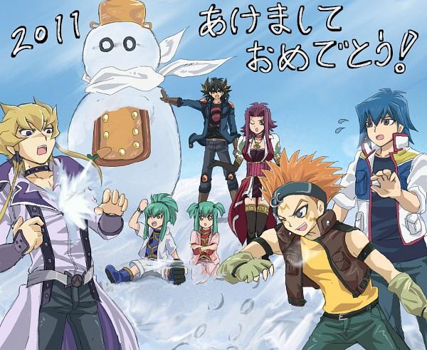 Tags: Anime, Pixiv Id 186176, Yu-Gi-Oh! 5D's, Yu-Gi-Oh!, Luca (Yu-Gi-Oh! 5D's), Lua (Yu-Gi-Oh! 5D's), Bruno, Jack Atlas, Izayoi Aki, Yusei Fudo, Junk Synchron, Crow Hogan, Fanart