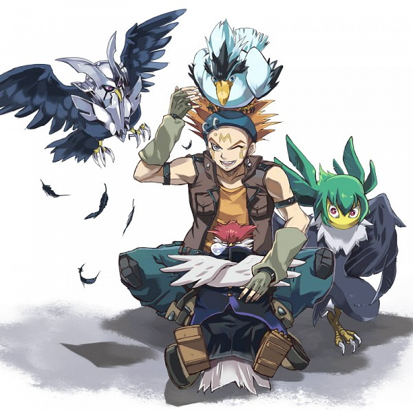 Tags: Anime, Machch, Yu-Gi-Oh!, Yu-Gi-Oh! 5D's, Blackwing - Mistral The Silver Shield, Blackwing - Gale the Whirlwind, Crow Hogan, Blackwing - Vayu the Emblem of Honor, Blackwing - Blizzard the Far North, Bird on Head, Snot Bubble, Fanart From Pixiv, Pixiv