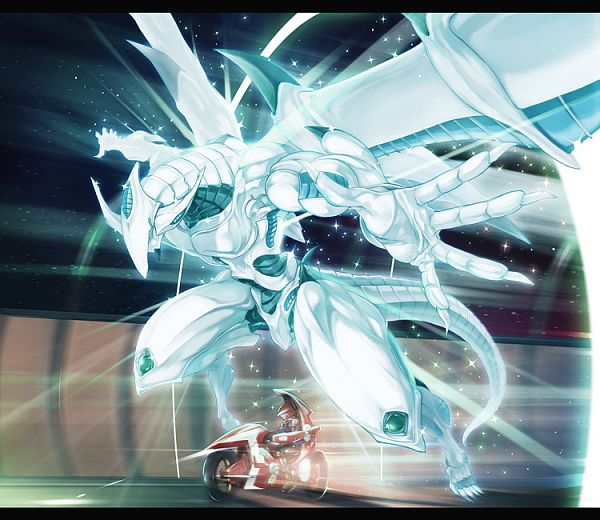 Tags: Anime, Pixiv Id 68823, Yu-Gi-Oh! 5D's, Yu-Gi-Oh!, Stardust Dragon, Shooting Star Dragon, Duel Runner, Pixiv, Fanart