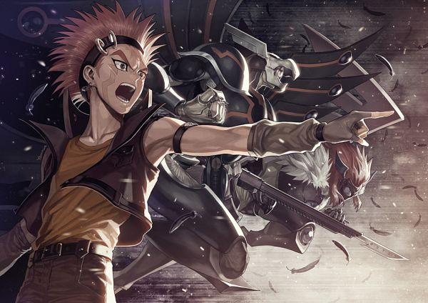 Tags: Anime, YNA, Yu-Gi-Oh! 5D's, Yu-Gi-Oh!, Blackwing Armed Wing, Blackwing Armor Master, Crow Hogan, Fanart, Pixiv