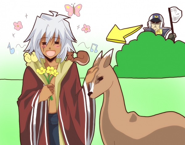 Tags: Anime, R-ninja (Artist), Yu-Gi-Oh!: The Abridged Series, Yu-Gi-Oh!, Yu-Gi-Oh! 5D's, Yu-Gi-Oh! Duel Monsters, Tetsu Ushio, Thief King Bakura, Yami Bakura, Caressing, Out of Character, Deer, Bird on Shoulder