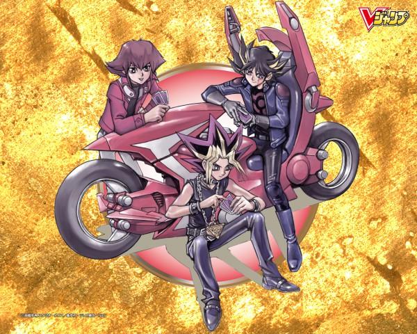 Tags: Anime, Takahashi Kazuki, Studio Gallop, Yu-Gi-Oh! 5D's, Yu-Gi-Oh! Duel Monsters, Yu-Gi-Oh! GX, Yu-Gi-Oh!, Mutou Yuugi, Juudai Yuuki, Yusei Fudo, Yami Yugi, Leather Jacket, Official Art