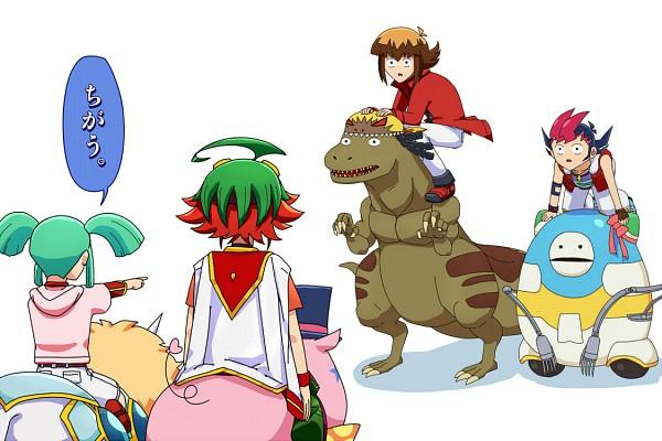 Tags: Anime, Pixiv Id 2400511, Yu-Gi-Oh! GX, Yu-Gi-Oh! ZEXAL, Yu-Gi-Oh! 5D's, Yu-Gi-Oh! ARC-V, Yu-Gi-Oh!, Juudai Yuuki, Obomi, Regulus (Yu-Gi-Oh! 5D's), Performapal Hip Hippo, Tyrano Kenzan, Sakaki Yuya