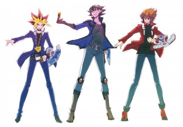 Tags: Anime, Pixiv Id 134771, Yu-Gi-Oh! GX, Yu-Gi-Oh! Duel Monsters, Yu-Gi-Oh! 5D's, Yu-Gi-Oh!, Juudai Yuuki, Yami Yugi, Yusei Fudo, Mutou Yuugi, Fanart, Pixiv, Fanart From Pixiv