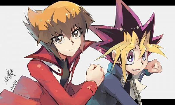 Tags: Anime, Evolution (Pixiv5555486), Yu-Gi-Oh! GX, Yu-Gi-Oh! Duel Monsters, Yu-Gi-Oh!, Juudai Yuuki, Mutou Yuugi, Fanart, Pixiv, Wallpaper, Fanart From Pixiv