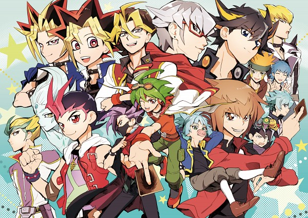 Tags: Anime, Pixiv Id 410499, Yu-Gi-Oh!, Yu-Gi-Oh! GX, Yu-Gi-Oh! Duel Monsters, Yu-Gi-Oh! ZEXAL, Yu-Gi-Oh! 5D's, Yu-Gi-Oh! ARC-V, Manjoume Jun, Sawatari Shingo, Yami Yugi, Crow Hogan, Ojama Green