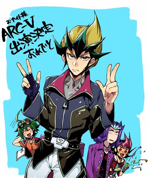 Tags: Anime, Pixiv Id 2128303, Yu-Gi-Oh! ZEXAL, Yu-Gi-Oh!, Yu-Gi-Oh! ARC-V, Tsukumo Yuma, Tenjou Kaito, Sakaki Yuya, Kamishiro Ryoga, Fanart, Fanart From Pixiv, Pixiv, PNG Conversion