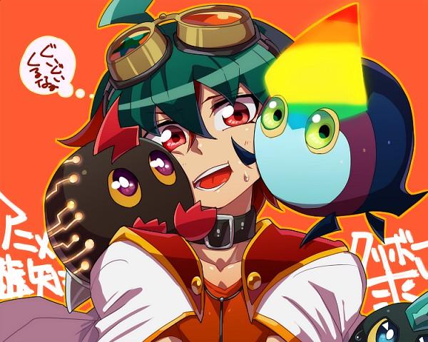 Tags: Anime, Pixiv Id 328292, Yu-Gi-Oh! ZEXAL, Yu-Gi-Oh! ARC-V, Yu-Gi-Oh!, Kuriphoton, Kurivolt, Sakaki Yuya, Rainbow Kuriboh, Cheeks Together, Yellow Sclera, Mouthless, Thinking