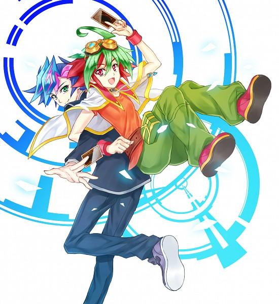 Tags: Anime, Yuuhei Syoujyo, Yu-Gi-Oh! VRAINS, Yu-Gi-Oh!, Yu-Gi-Oh! ARC-V, Fujiki Yuusaku, Sakaki Yuya, Fanart, Fanart From Pixiv, Pixiv