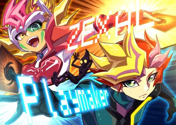 Tags: Anime, Pixiv Id 328292, Yu-Gi-Oh! VRAINS, Yu-Gi-Oh!, Yu-Gi-Oh! ZEXAL, Playmaker, ZEXAL Power Fusion, Fujiki Yuusaku, Tsukumo Yuma, Ai (Yu-Gi-Oh! VRAINS), Duel Gazer, Twitter, Fanart