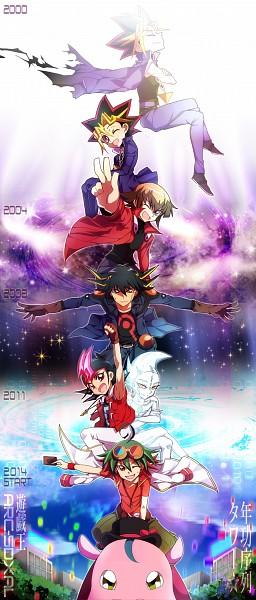 Tags: Anime, Eirakko, Yu-Gi-Oh! GX, Yu-Gi-Oh! Duel Monsters, Yu-Gi-Oh! ARC-V, Yu-Gi-Oh! ZEXAL, Yu-Gi-Oh! 5D's, Yu-Gi-Oh!, Tsukumo Yuma, Performapal Hip Hippo, Juudai Yuuki, Yami Yugi, Yusei Fudo