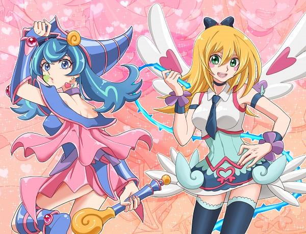 Tags: Anime, Pixiv Id 7085996, Yu-Gi-Oh! VRAINS, Yu-Gi-Oh! Duel Monsters, Yu-Gi-Oh!, Blue Angel, Dark Magician Girl, Zaizen Aoi, Dark Magician Girl (Cosplay), Blue Angel (Cosplay), Heart Print, Fanart, Pixiv