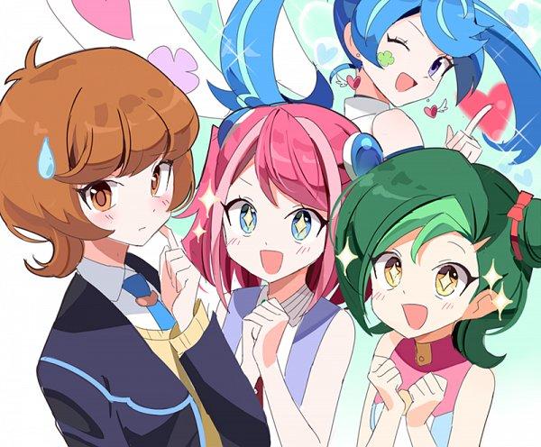 Tags: Anime, joman, Yu-Gi-Oh! VRAINS, Yu-Gi-Oh! ARC-V, Yu-Gi-Oh!, Yu-Gi-Oh! ZEXAL, Zaizen Aoi, Mizuki Kotori, Blue Angel, Hiiragi Yuzu, Fan Girls, Fanart From Pixiv, Fanart