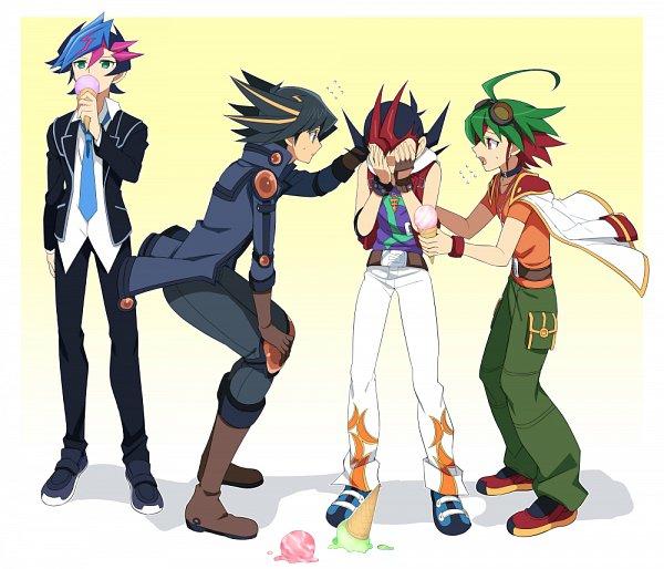 Tags: Anime, Pixiv Id 9713212, Yu-Gi-Oh! VRAINS, Yu-Gi-Oh! ARC-V, Yu-Gi-Oh! ZEXAL, Yu-Gi-Oh! 5D's, Yu-Gi-Oh!, Yusei Fudo, Sakaki Yuya, Tsukumo Yuma, Fujiki Yuusaku, Giving, Covering