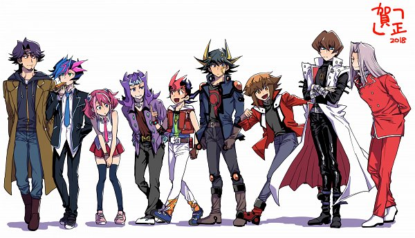 Tags: Anime, Pixiv Id 2128303, Yu-Gi-Oh! VRAINS, Yu-Gi-Oh! ZEXAL, Yu-Gi-Oh! 5D's, Yu-Gi-Oh! Duel Monsters, Yu-Gi-Oh! GX, Yu-Gi-Oh! ARC-V, Yu-Gi-Oh!, Juudai Yuuki, Hiiragi Yuzu, Pegasus J. Crawford, Yusei Fudo