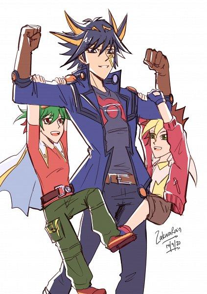 Tags: Anime, Yu-Gi-Oh! SEVENS, Yu-Gi-Oh! 5D's, Yu-Gi-Oh!, Yu-Gi-Oh! ARC-V, Sakaki Yuya, Oudou Yuuga, Yusei Fudo, Fanart, Twitter