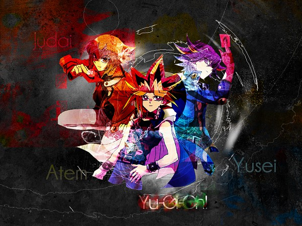 Tags: Anime, Studio Gallop, Yu-Gi-Oh!, Yu-Gi-Oh! 5D's, Yu-Gi-Oh! Duel Monsters, Juudai Yuuki, Yusei Fudo, Mutou Yuugi, Wallpaper