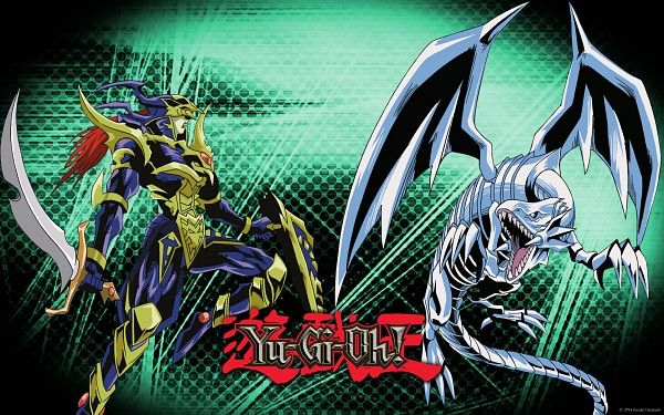 Tags: Anime, Yu-Gi-Oh!, Black Luster Soldier, Blue-Eyes White Dragon, Wallpaper