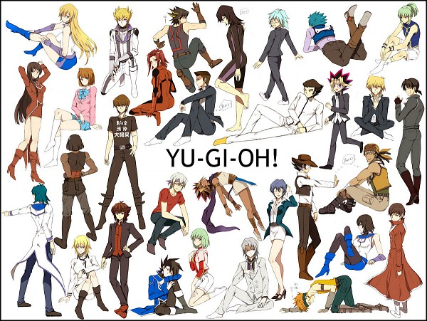 Tags: Anime, Yu-Gi-Oh!, Yu-Gi-Oh! Duel Monsters, Yu-Gi-Oh! GX, Yu-Gi-Oh! 5D's, Jim Crocodile Cook, Yami Yugi, Tenjouin Fubuki, Mikage Sagiri, Reggie MacKenzie, Pharaoh Atem, Jack Atlas, Tyrano Kenzan