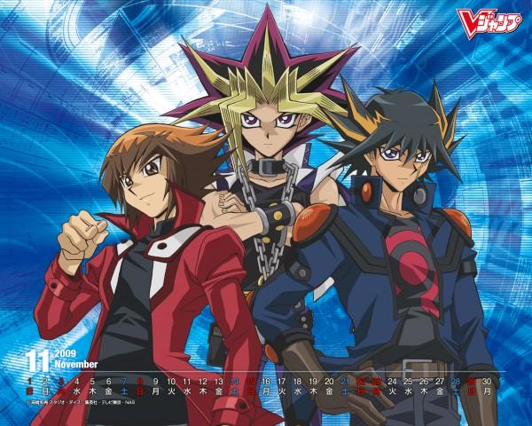 Tags: Anime, Takahashi Kazuki, Studio Gallop, Yu-Gi-Oh! Bonds Beyond Time, Yu-Gi-Oh! Duel Monsters, Yu-Gi-Oh!, Yu-Gi-Oh! GX, Yu-Gi-Oh! 5D's, Juudai Yuuki, Yami Yugi, Yusei Fudo, Official Wallpaper, Wallpaper