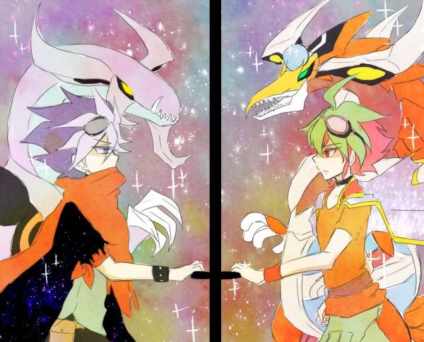Tags: Anime, Pixiv Id 5812040, Yu-Gi-Oh!, Yu-Gi-Oh! ARC-V, Dark Rebellion Xyz Dragon, Yuto (Yu-Gi-Oh! ARC-V), Odd-Eyes Pendulum Dragon, Sakaki Yuya, Fanart From Pixiv, Pixiv, Fanart