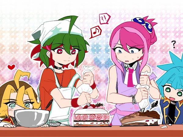 Tags: Anime, Pixiv Id 10307472, Yu-Gi-Oh! ARC-V, Hiiragi Yuzu, Sakaki Yuya, Sawatari Shingo, Shiunin Sora, Pixiv