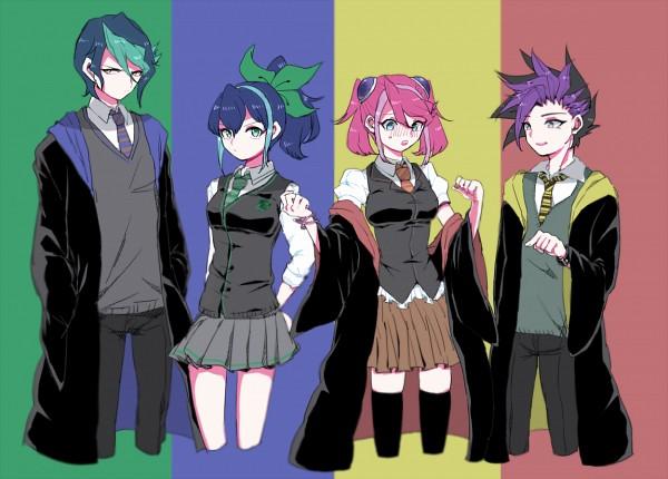 Tags: Anime, Pixiv Id 14440348, Yu-Gi-Oh!, Yu-Gi-Oh! ARC-V, Yuto (Yu-Gi-Oh! ARC-V), Hiiragi Yuzu, Serena (Yu-Gi-Oh! ARC-V), Kurosaki Shun, Harry Potter (Cosplay), Pixiv, Fanart, Fanart From Pixiv
