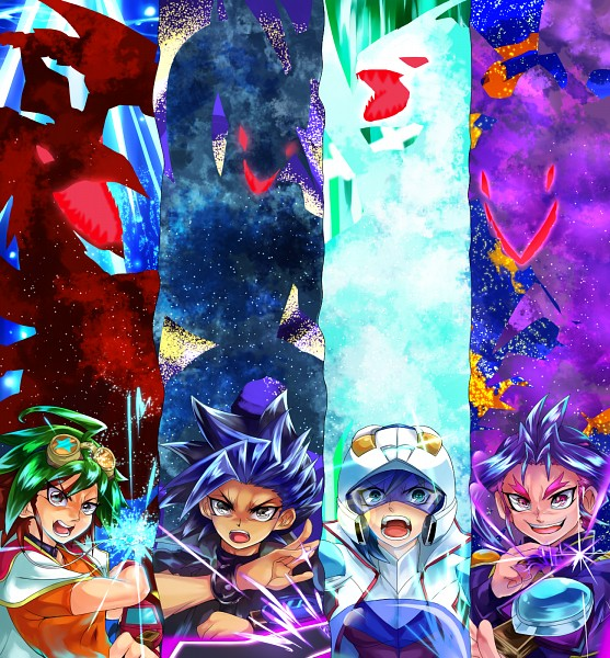 Tags: Anime, Pixiv Id 6304301, Yu-Gi-Oh! ARC-V, Yu-Gi-Oh!, Sakaki Yuya, Yuugo (Yu-Gi-Oh! ARC-V), Dark Rebellion Xyz Dragon, Yuto (Yu-Gi-Oh! ARC-V), Yuuri (Yu-Gi-Oh! ARC-V), Odd-Eyes Pendulum Dragon, Clear Wing Synchro Dragon, Duel Runner, Motorcycle Helmet