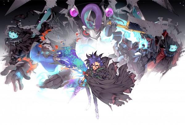 Tags: Anime, Pixiv Id 2765210, Yu-Gi-Oh!, Yu-Gi-Oh! ARC-V, Yuto (Yu-Gi-Oh! ARC-V), Phantom Knights of Break Sword, Phantom Knights of Silent Boots, Phantom Knights of Ancient Cloak, Dark Rebellion Xyz Dragon, Phantom Knights of Ragged Gloves, Mace, Pixiv