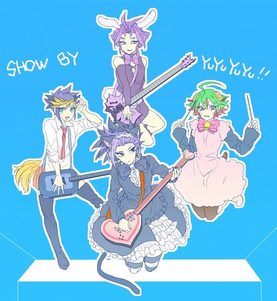 Tags: Anime, Pixiv Id 12955360, Yu-Gi-Oh!, Yu-Gi-Oh! ARC-V, Sakaki Yuya, Yuuri (Yu-Gi-Oh! ARC-V), Yuugo (Yu-Gi-Oh! ARC-V), Yuto (Yu-Gi-Oh! ARC-V), Show by Rock!! (Parody), Moa (Show by Rock!!) (Cosplay), Chuchu (Show by Rock!!) (Cosplay), Retoree (Show by Rock!!) (Cosplay), Cyan (Show by Rock!!) (Cosplay)