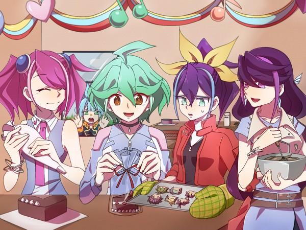 Tags: Anime, Pixiv Id 5952704, Yu-Gi-Oh!, Yu-Gi-Oh! ARC-V, Shiunin Sora, Rin (Yu-Gi-Oh! ARC-V), Hiiragi Yuzu, Serena (Yu-Gi-Oh! ARC-V), Kurosaki Ruri, 2048x1536 Wallpaper, Looking At Food, Fanart From Pixiv, PNG Conversion
