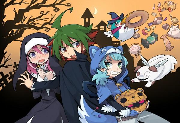 Tags: Anime, Honzumaru, Yu-Gi-Oh! ARC-V, Yu-Gi-Oh!, Fluffal Mouse, Shiunin Sora, Fluffal Dog, Hiiragi Yuzu, Sakaki Yuya, Fluffal Sheep, Ghostrick Specter, Vampire Costume, Haunted House