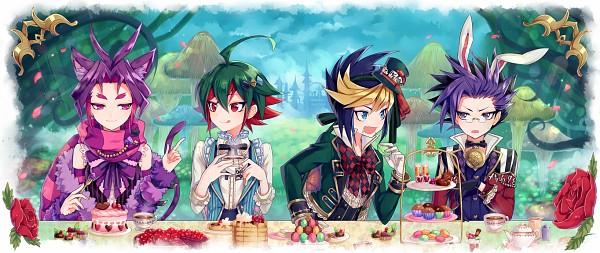 Tags: Anime, Pixiv Id 143114, Yu-Gi-Oh!, Yu-Gi-Oh! ARC-V, Yuugo (Yu-Gi-Oh! ARC-V), Yuto (Yu-Gi-Oh! ARC-V), Sakaki Yuya, Yuuri (Yu-Gi-Oh! ARC-V), White Rabbit (Cosplay), Cheshire Cat (Cosplay), Mad Hatter (Cosplay), Alice (Alice in Wonderland) (Cosplay), Pixiv