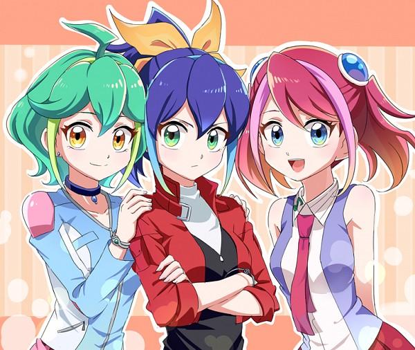 Tags: Anime, joman, Yu-Gi-Oh!, Yu-Gi-Oh! ARC-V, Rin (Yu-Gi-Oh! ARC-V), Serena (Yu-Gi-Oh! ARC-V), Hiiragi Yuzu, Fanart, Fanart From Pixiv, PNG Conversion, Pixiv
