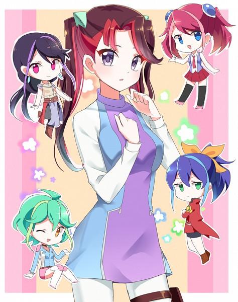 Tags: Anime, joman, Yu-Gi-Oh!, Yu-Gi-Oh! ARC-V, Kurosaki Ruri, Hiiragi Yuzu, Rin (Yu-Gi-Oh! ARC-V), Akaba Ray, Serena (Yu-Gi-Oh! ARC-V), No Nose, Semi Chibi, Fanart, Fanart From Pixiv