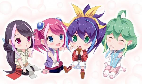 Tags: Anime, Pixiv Id 2869201, Yu-Gi-Oh! ARC-V, Yu-Gi-Oh!, Hiiragi Yuzu, Rin (Yu-Gi-Oh! ARC-V), Serena (Yu-Gi-Oh! ARC-V), Kurosaki Ruri, Looking At Food, Wallpaper, Fanart, Fanart From Pixiv, Pixiv