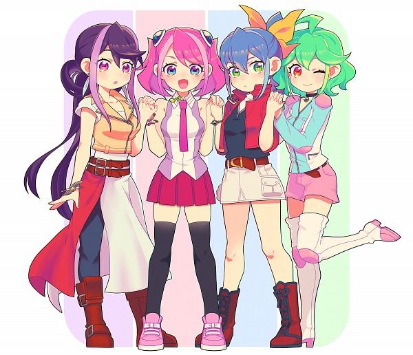 Tags: Anime, Nns146, Yu-Gi-Oh! ARC-V, Yu-Gi-Oh!, Rin (Yu-Gi-Oh! ARC-V), Serena (Yu-Gi-Oh! ARC-V), Kurosaki Ruri, Hiiragi Yuzu, Pixiv, Fanart, Fanart From Pixiv, PNG Conversion