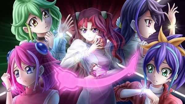Tags: Anime, Pixiv Id 10842037, Yu-Gi-Oh! ARC-V, Yu-Gi-Oh!, Rin (Yu-Gi-Oh! ARC-V), Akaba Ray, Serena (Yu-Gi-Oh! ARC-V), Kurosaki Ruri, Hiiragi Yuzu, Wallpaper, Fanart, Fanart From Pixiv, Pixiv