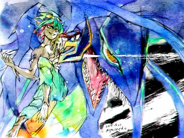 Tags: Anime, Pixiv Id 1209073, Yu-Gi-Oh!, Yu-Gi-Oh! ARC-V, Supreme King Z-ARC, Zarc, Sakaki Yuya, Fanart, Fanart From Pixiv, PNG Conversion, Pixiv