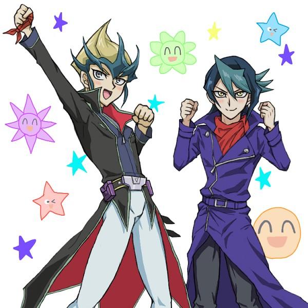 Tags: Anime, Pixiv Id 1370831, Yu-Gi-Oh!, Yu-Gi-Oh! ZEXAL, Yu-Gi-Oh! ARC-V, Kurosaki Shun, Tenjou Kaito, Smiley Face, Fanart From Pixiv, PNG Conversion, Fanart, Pixiv