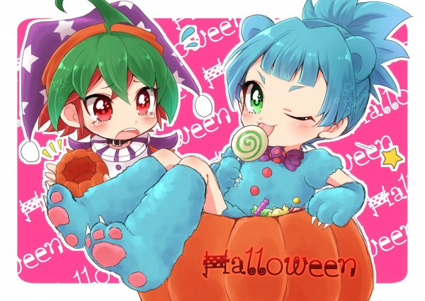 Tags: Anime, Pixiv Id 1068763, Yu-Gi-Oh! ARC-V, Yu-Gi-Oh!, Sakaki Yuya, Shiunin Sora, Jester Hat, Purple Neckwear, Animal Shoes, Star Print, Aqua Handwear, Clown, Aqua Gloves
